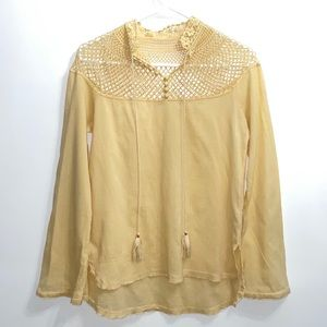 Free People crepe top with crochet long sleeve
